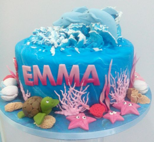 tarta fondant delfines valencia cumpleaños