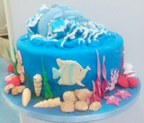 Tarta fondant delfines cumpleaños Valencia